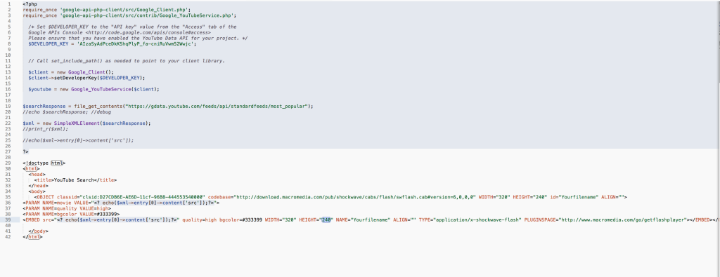 YouTube API Code